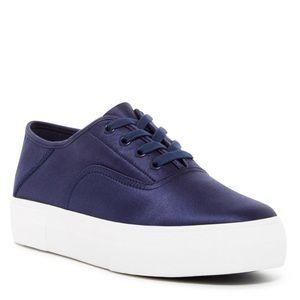 Vince Copley Platform Sneaker Navy Blue Satin